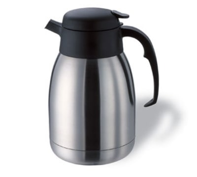 Service Ideas FVPB20D 2-liter Carafe w/ Decaf Brew Thru Lid, Stainless, Black Finish