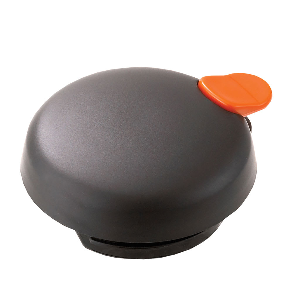 Service Ideas FVPLOR Vacuum Server Decaf Lid w/ Push Button For FVP, Black, Orange