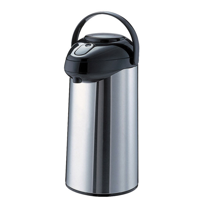 Service Ideas GLAP220 2.2-liter Premium Glass-Lined Airpot w/ Pump Lid, Stainless