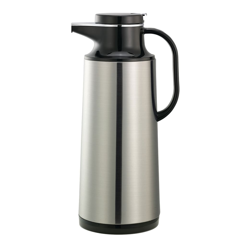 Service Ideas HPS161 1.6 liter Coffee Server w/ Stainless Shell, Brushed Stainless, Black