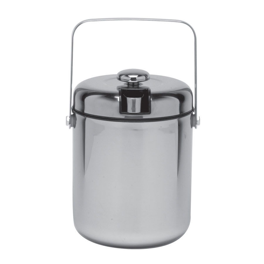 Service Ideas IBT15PS 1.5-liter Ice Bucket w/ Tongs, Black Interior, Polished Stainless