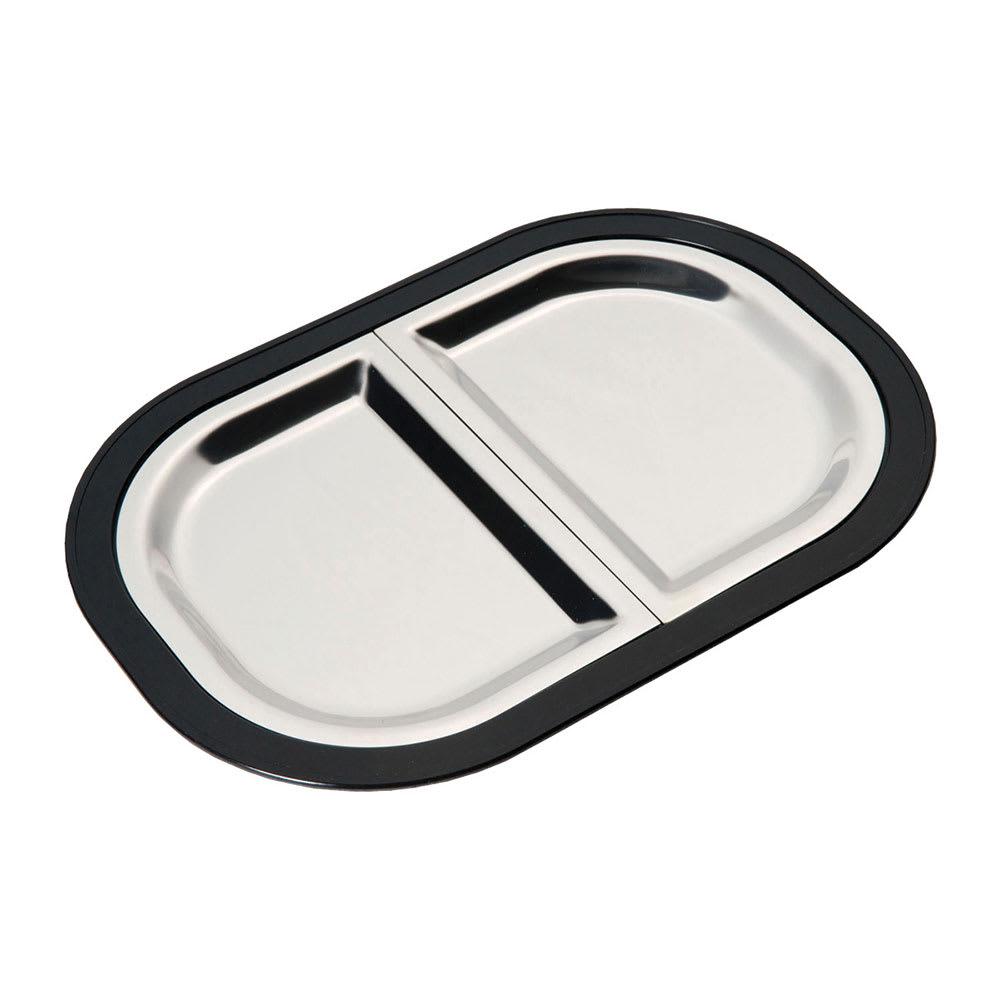 Service Ideas LO125BLC Complete Rectangular Platter Set, Divided, Large, Stackable, Black
