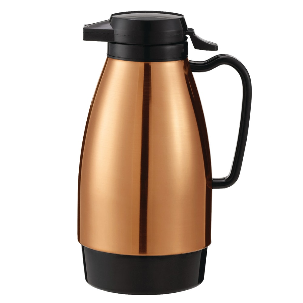 Service Ideas ML101MCPBL 1-liter Coffee Server w/ Push Button Lid, Copper & Black