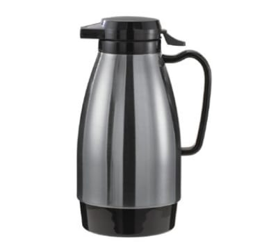 Service Ideas ML101MSSBL 1-liter Coffee Server w/ Push Button Lid, Stainless & Black