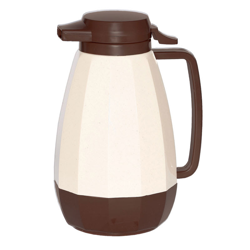 Service Ideas NG101ST 1-liter Coffee Server w/ Push Button Lid, Stoneware, Brown