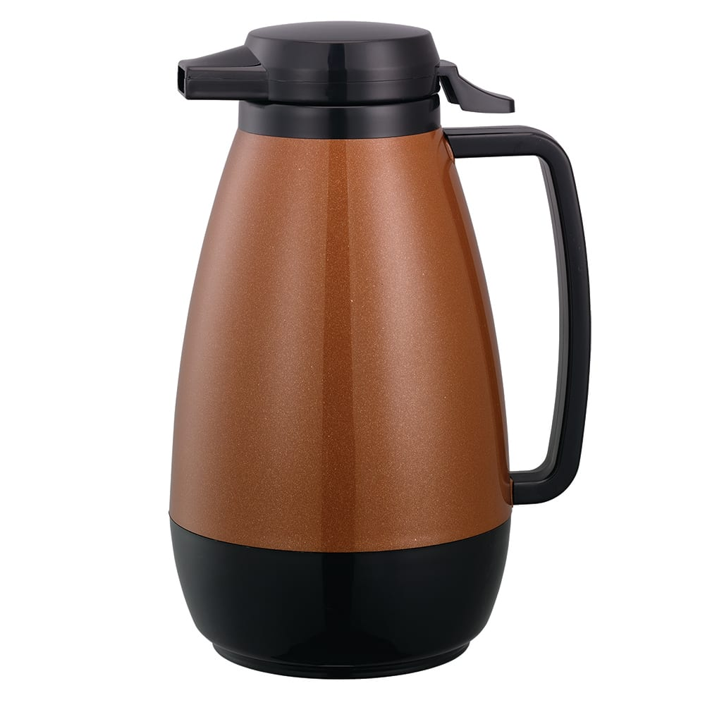 Service Ideas PB101CB 1 liter Coffee Server w/ Push-Button Lid, Copper & Black