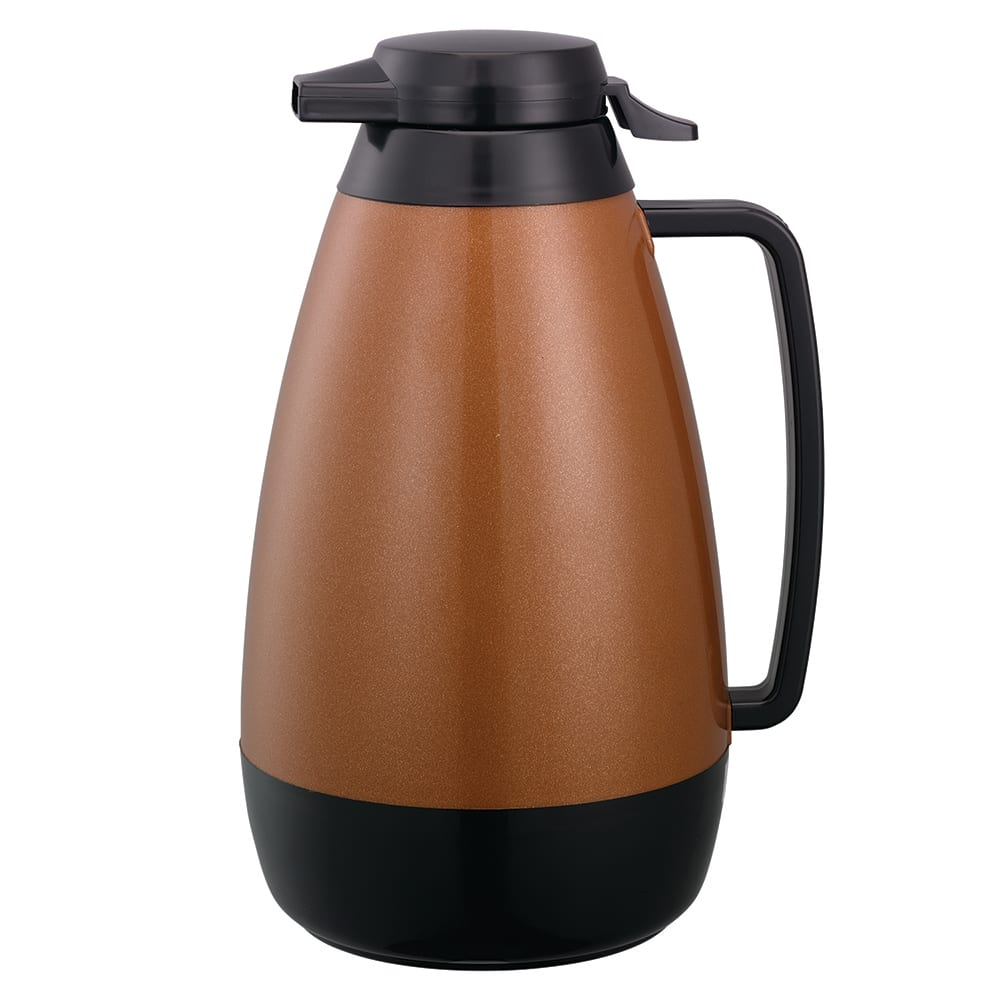 Service Ideas PB421CB 2-liter Coffee Server w/ Push-Button Lid, Copper & Black