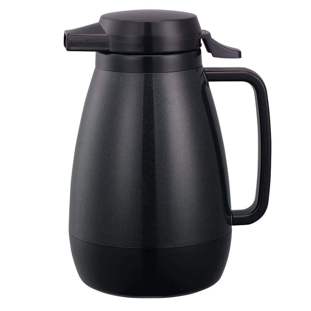 Service Ideas PB501BL .6 liter Coffee Server w/ Push-Button Lid, Smooth Body, Black