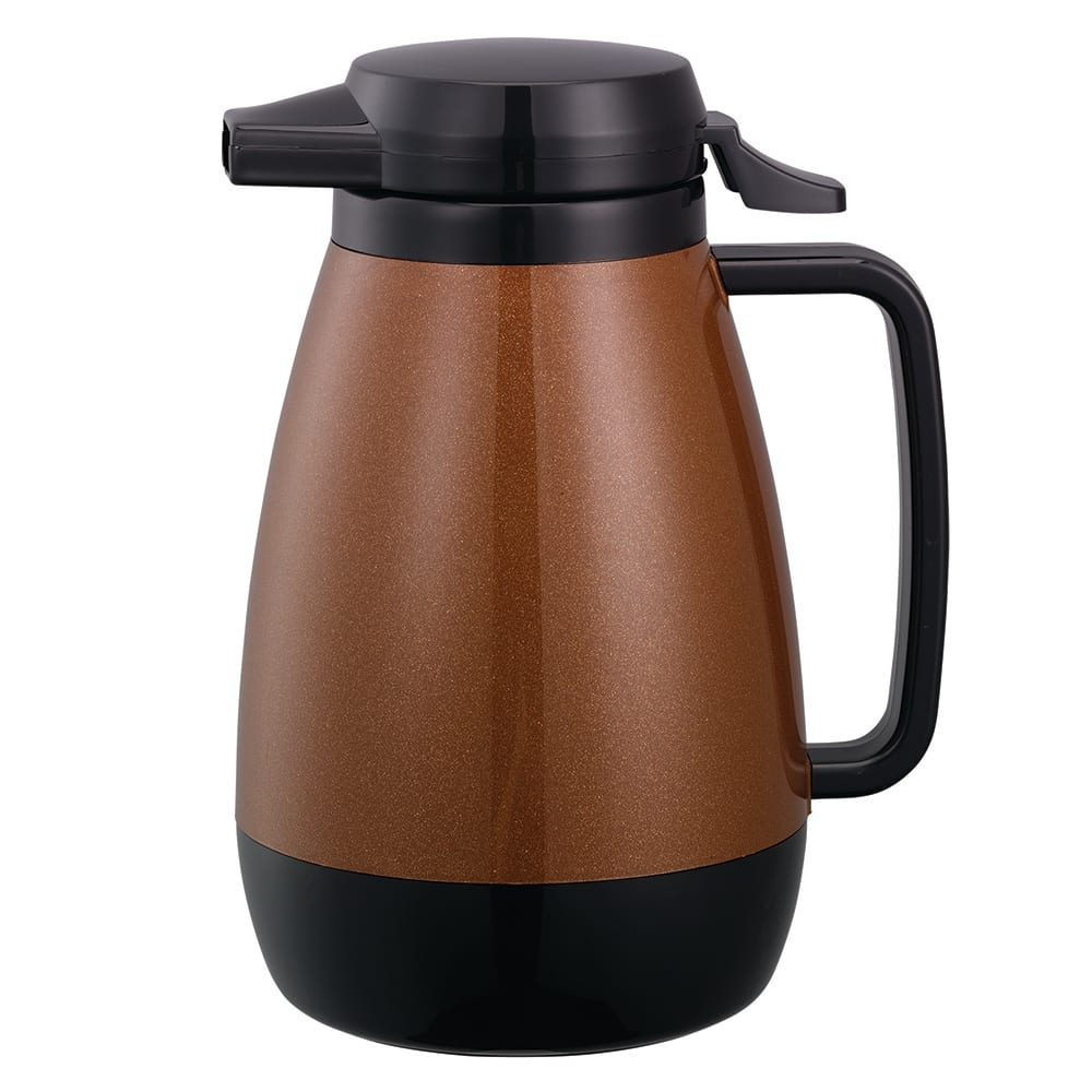 Service Ideas PB501CB .6-liter Coffee Server w/ Push-Button Lid, Copper & Black