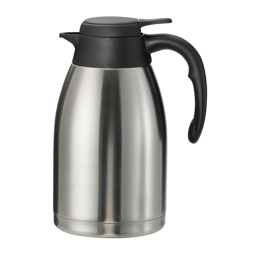Service Ideas PWLA161 1.6-liter Carafe w/ Push-Button Lid, Unbreakable Liner, Black Finish