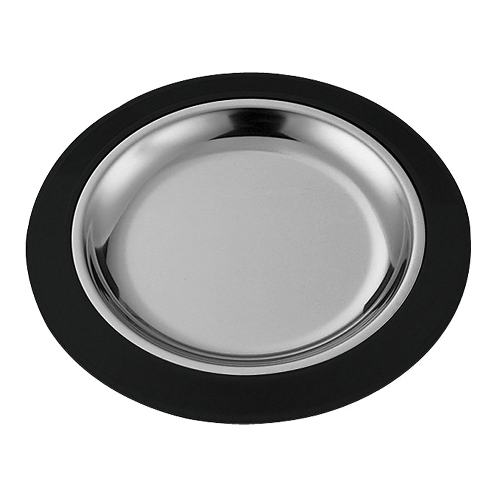 "Service Ideas RT1025BLC 10.25"" Round Complete Platter Set w/ Stainless Insert, Black"