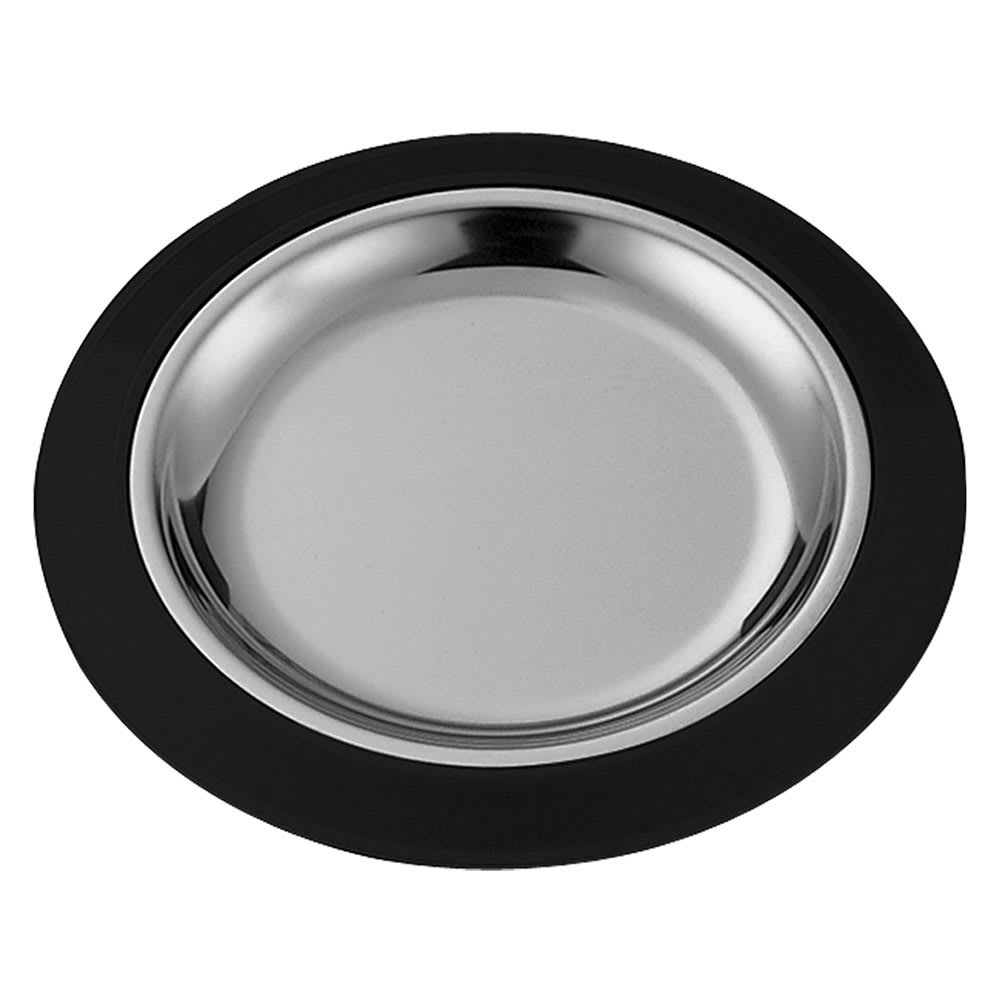 "Service Ideas RT7BLC 7"" Round Complete Platter Set w/ Stainless Insert, Sloping Rim"