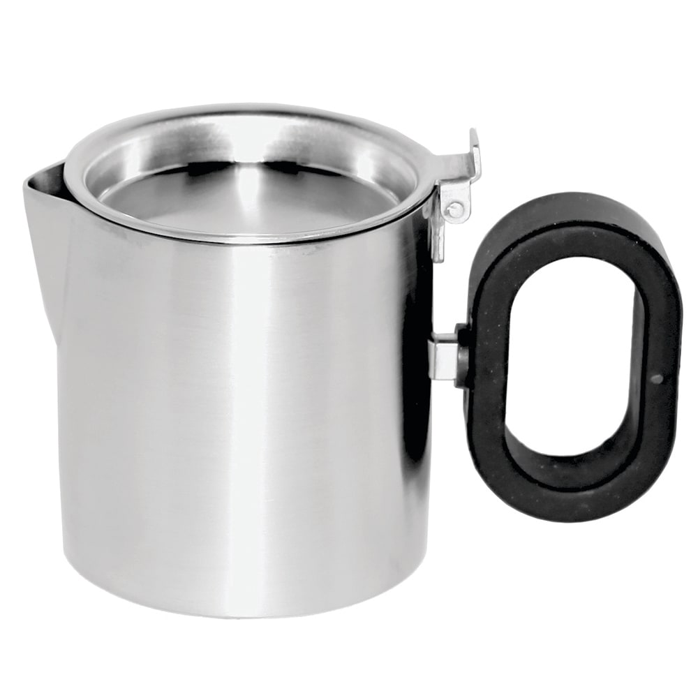 "Service Ideas SB-25 5-oz Creamer w/ Lid, Opens 180-Degrees, 2.5 x 2.75"", Brushed Finished"