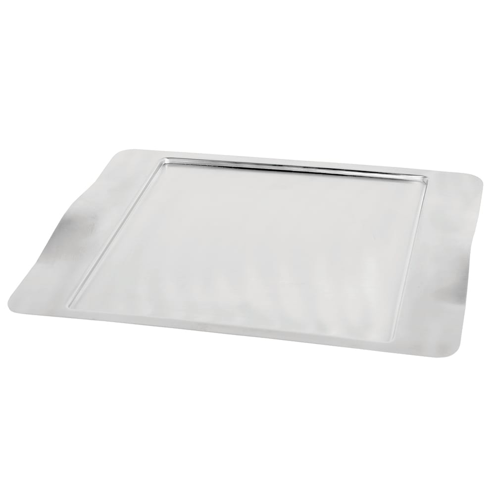 "Service Ideas SB-43 Rectangular Tray w/ Contoured Handles, 16 x 13"", Stainless, Brushed Finish"
