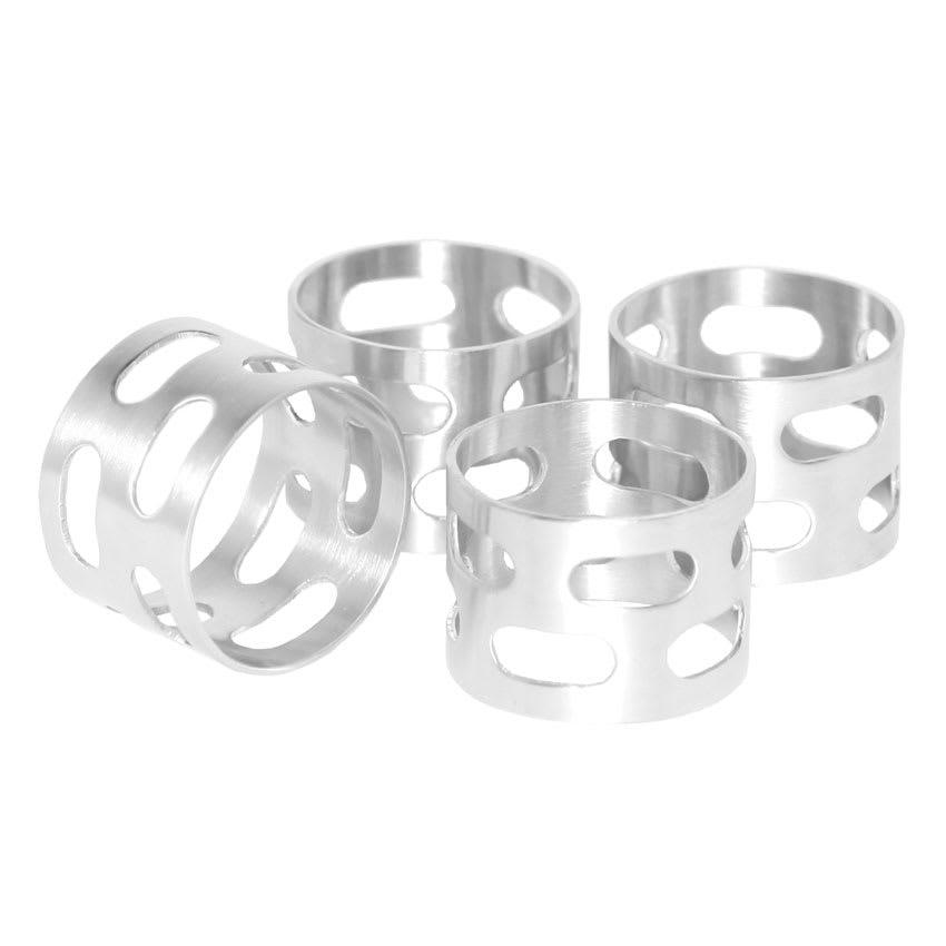"""Service Ideas SB-67 1.5"""" Napkin Ring Set, Stainless, Brushed Finish"""