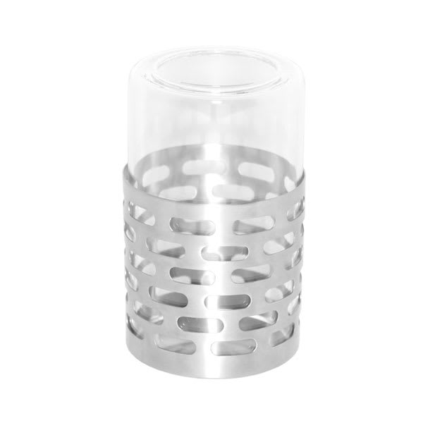 Service Ideas SB-71 Candle Holder w/ Removable Borosilicate Glass, Stainless Base, Brushed Finish