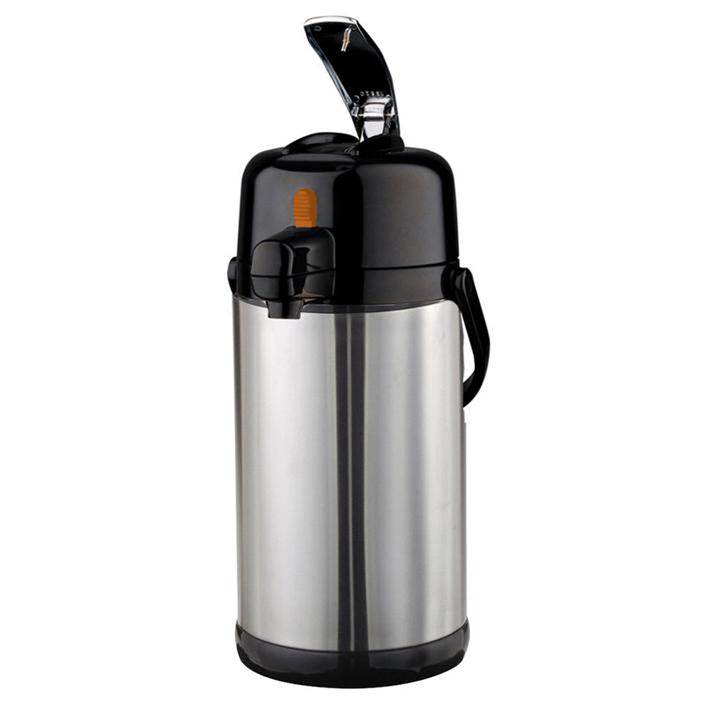 Service Ideas SECAL30DS 3-liter Lever-Action Airpot w/ Orange Decaf Button - Stainless Liner, Stainless