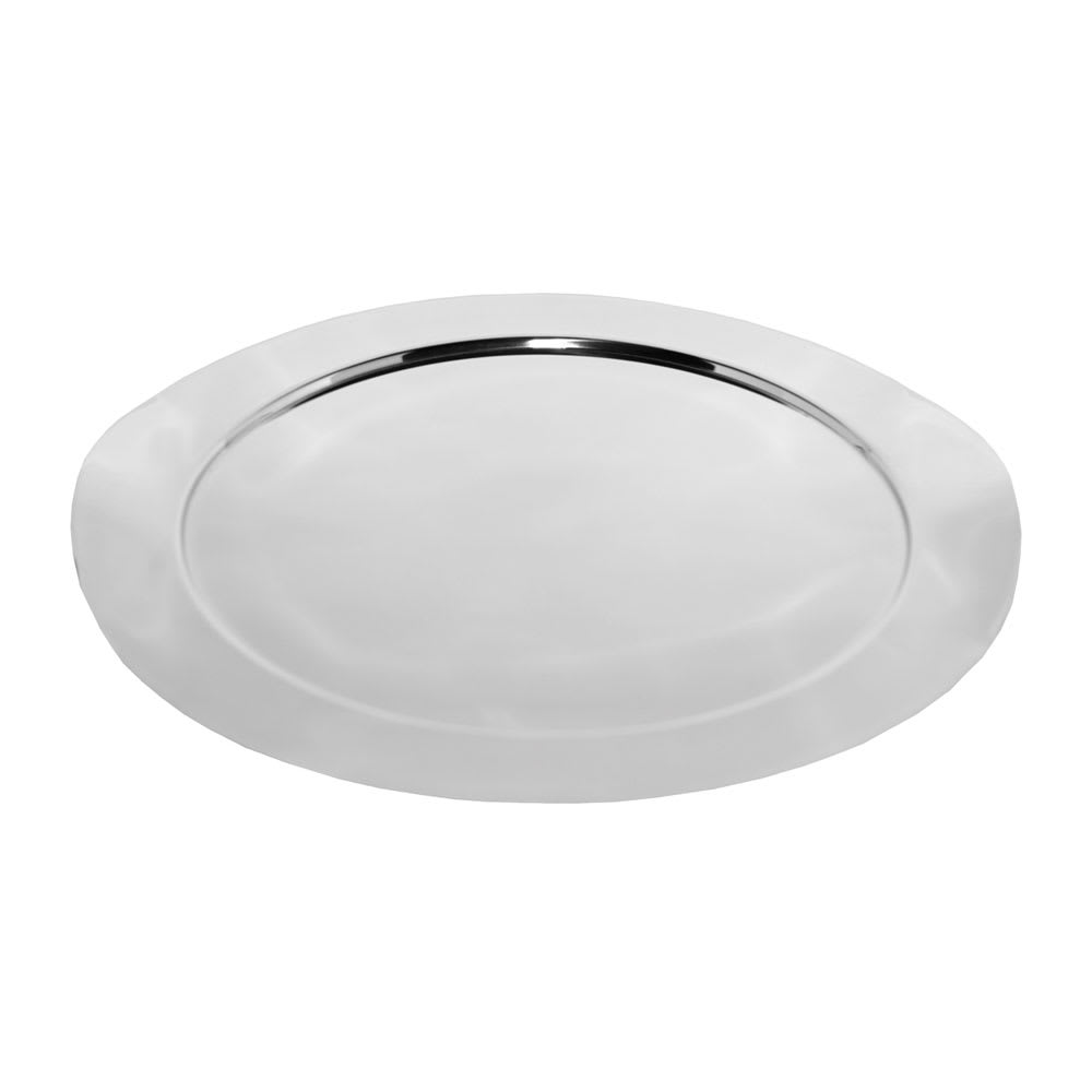 "Service Ideas SM-40 16"" Round Tray w/ Contoured Handles, Stainless, Mirror Finish"