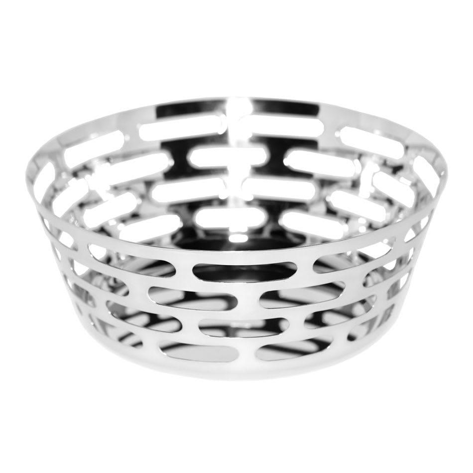 """Service Ideas SM-64 9"""" Round Bread Basket, Stainless w/ Mirror Finish"""