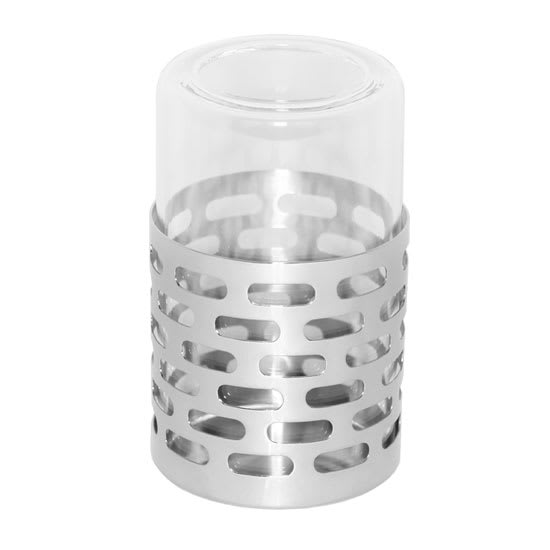 Service Ideas SM-71 Candle Holder w/ Removable Borosilicate Glass, Stainless Base, Mirror Finish