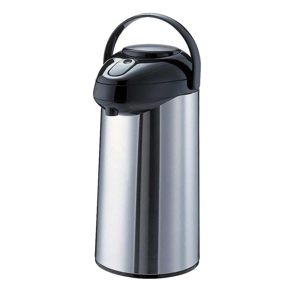 Service Ideas SSA300 3 liter Airpot w/ Interchangeable Pump Lid, Stainless & Black