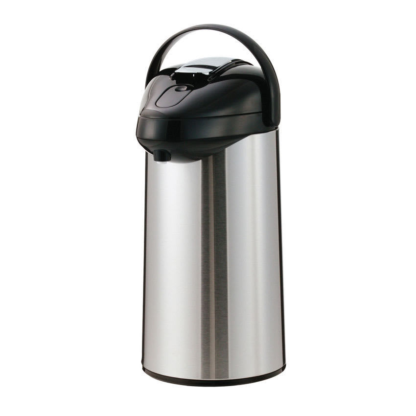 Service Ideas SSAL250 2.5-liter Airpot w/ Interchangeable Lever Lids, Stainless & Black