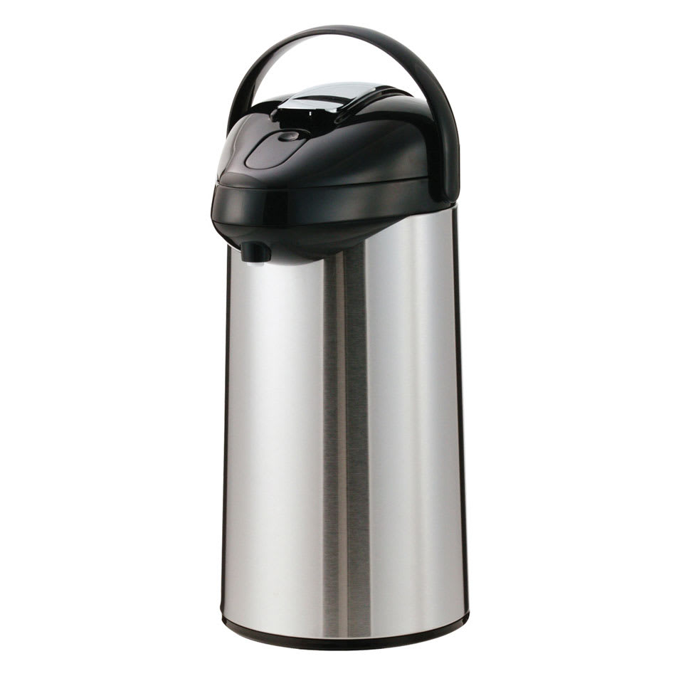Service Ideas SSAL300 3-liter Airpot w/ Interchangeable Lever Lid, Stainless & Black