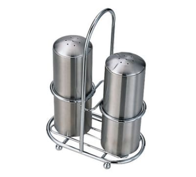 Service Ideas STOSPSH Salt & Pepper Set w/ Holder, Stainless