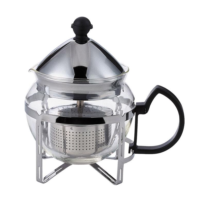 Service Ideas T600CC .6 liter Tea Press w/ Glass Pitcher, Metal Holder, Chrome Finish