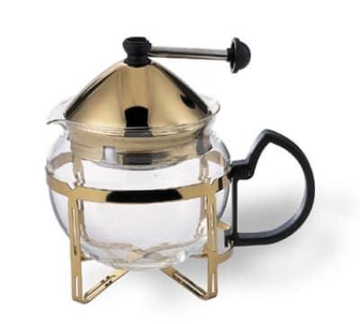 Service Ideas T600CCG .6-liter Tea Press w/ Glass Pitcher, Metal Holder, Gold Finish