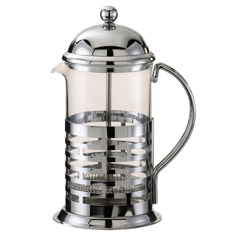 Service Ideas T677B .8 liter Coffee Press w/ Glass Liner, Brick Design, Chrome