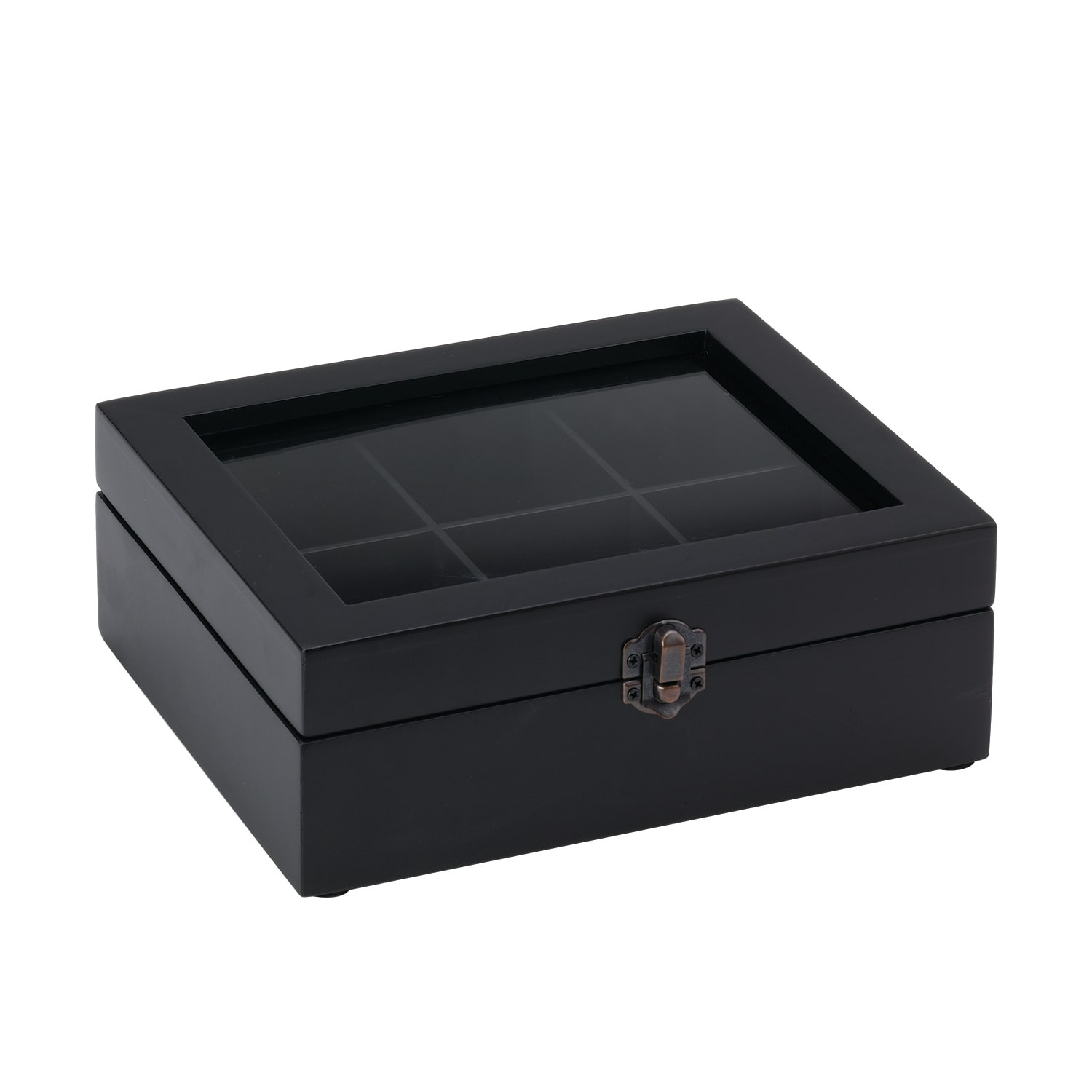 "Service Ideas TB006 Tea Box w/ 6-Compartments, 8.25 x 7.25"", Beechwood"