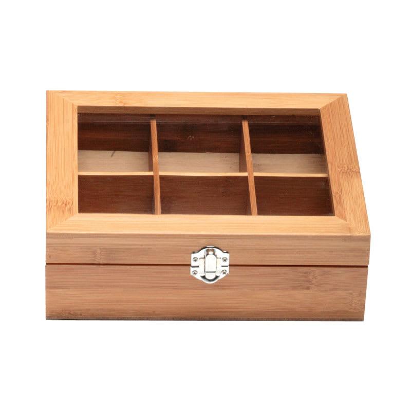 "Service Ideas TB006BN Tea Box w/ 6-Compartments, Window, 8.75 X 7.25 X 2.75"", Bamboo"