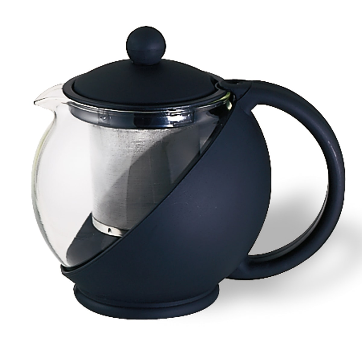 Service Ideas TB600CC .6-liter Tea Press w/ Removable Tea Basket, Glass Liner, Black