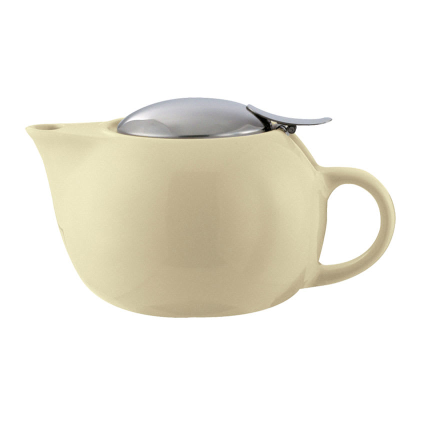 Service Ideas TPC10CM 10-oz Teapot w/ Lid, Infuser Basket, Cream Ceramic