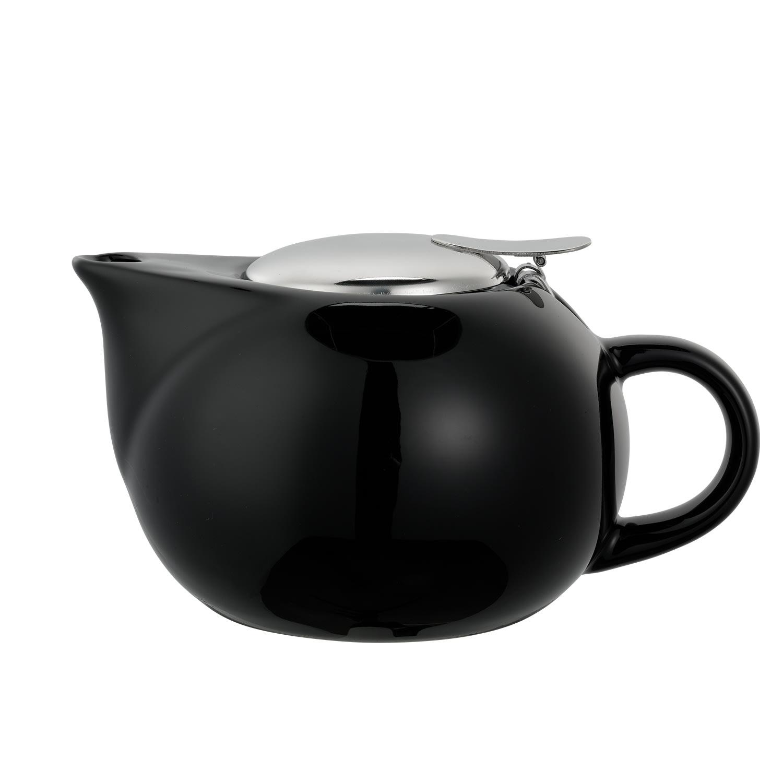 Service Ideas TPC16BL 16-oz Teapot w/ Lid, Infuser Basket, Black Ceramic