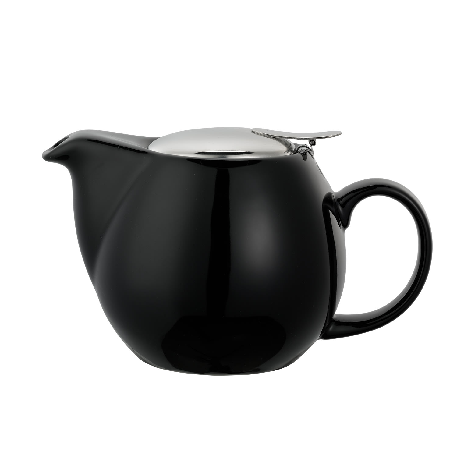 Service Ideas TPCV16BL 16 oz Oval-Style Teapot w/ Lid & Infuser Basket, Black Ceramic