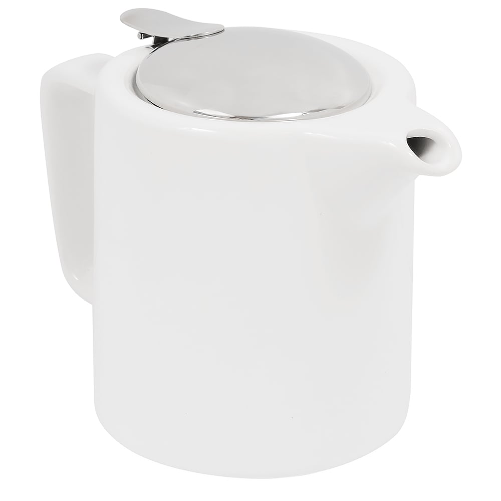 Service Ideas TPCW16WH 16 oz Washington-Style Teapot w/ Lid & Infuser Basket, White
