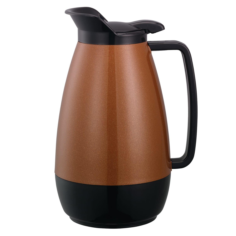 Service Ideas TS101CB 1 liter Coffee Server w/ Flip Top, Smooth Body, Copper & Black