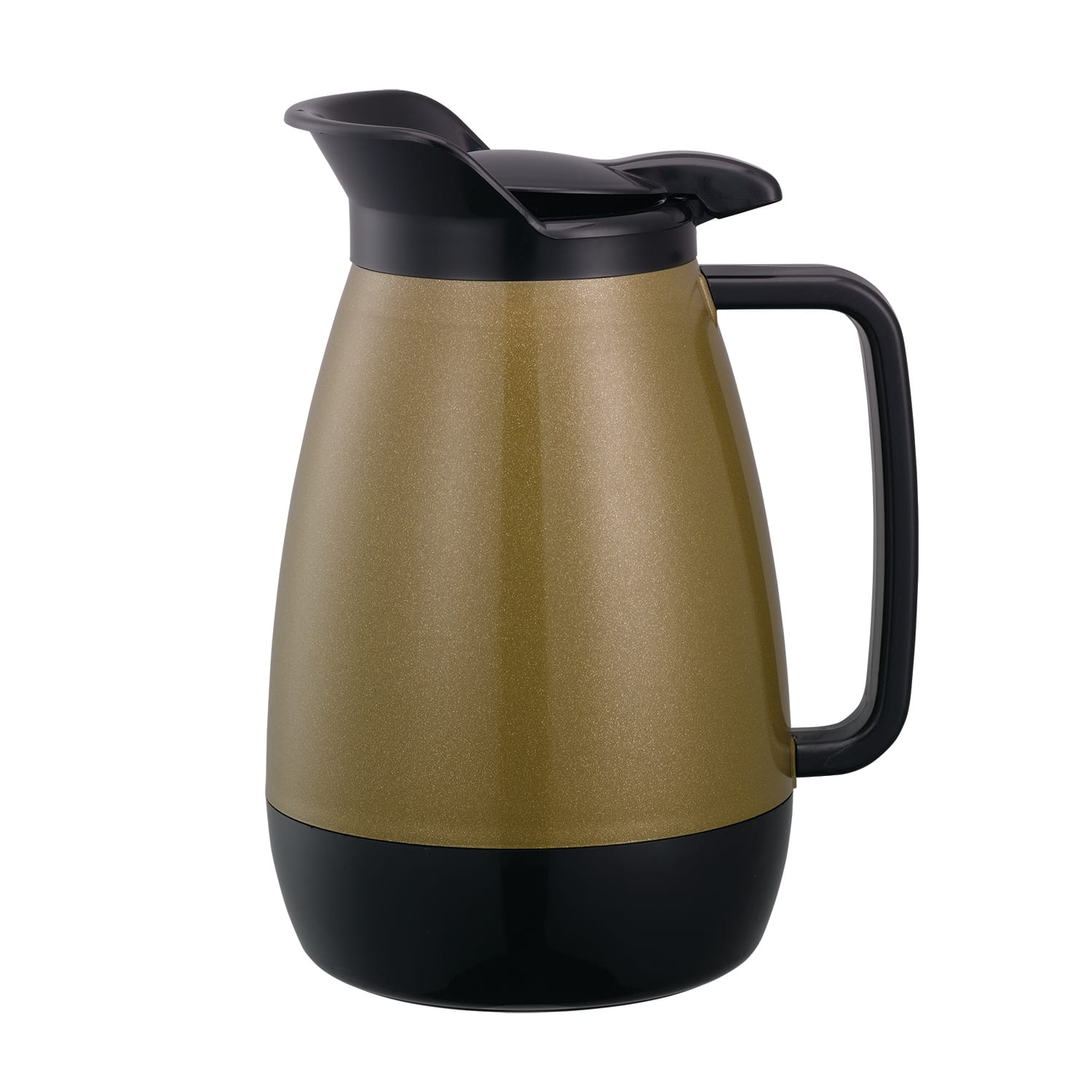 Service Ideas TS501KB .6 liter Coffee Server w/ Flip Top, Smooth Body, Gold & Black