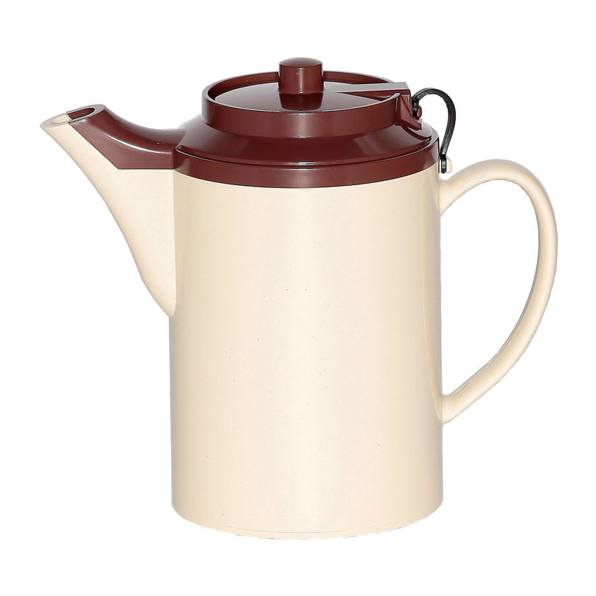 Service Ideas TST612ST/BR 16 oz Dripless Teapot w/ Tether, Baffled Spout, Stoneware & Brown