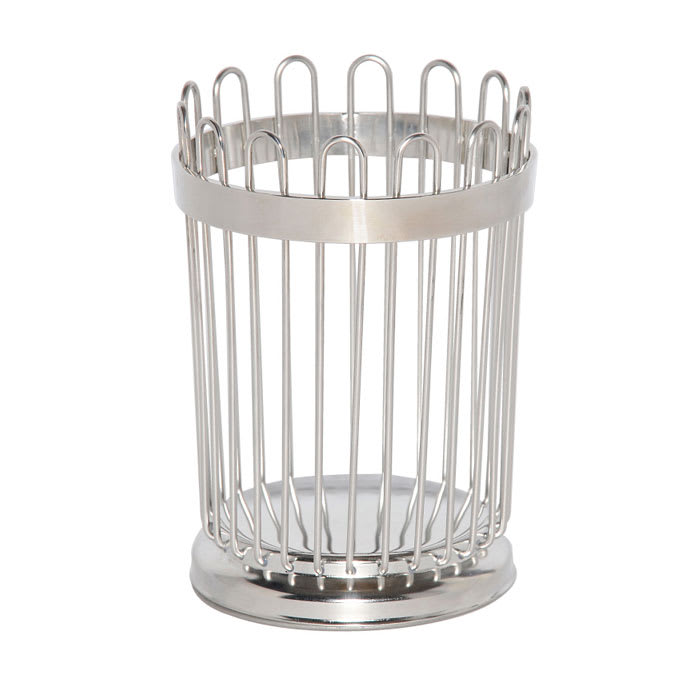 """Service Ideas WBB5PS 5"""" Wire Breadstick Basket w/ Weighted Base, Polished Stainless"""