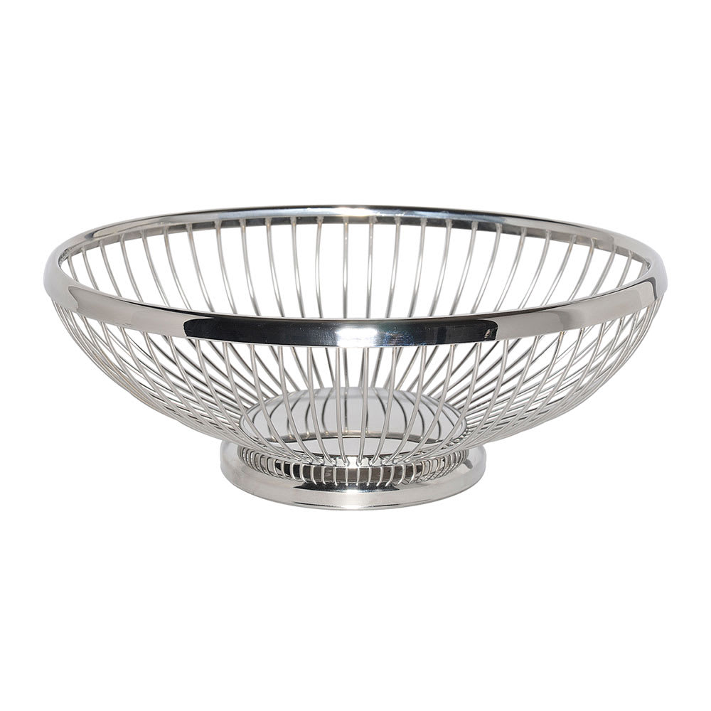 """Service Ideas WBBO9PS 9"""" Oval Wire Basket w/ Weighted Base, Polished Stainless"""