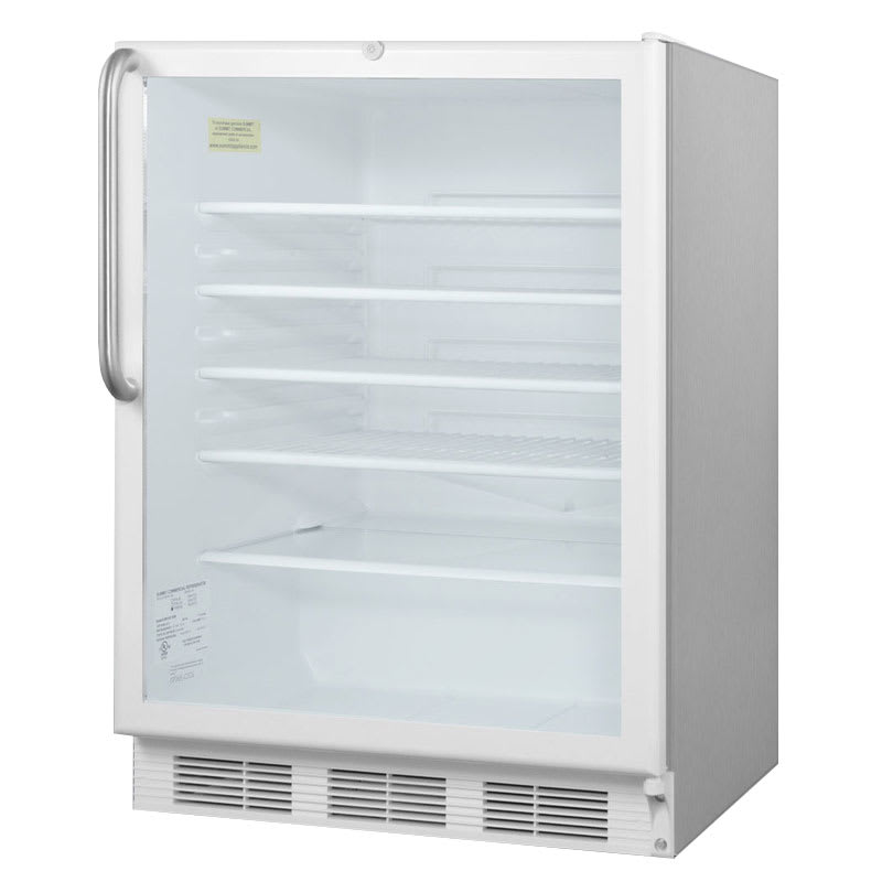 """Accucold SCR600LCSS 24"""" Countertop Refrigerator w/ Front Access - Swing Door, Stainless, 115v"""