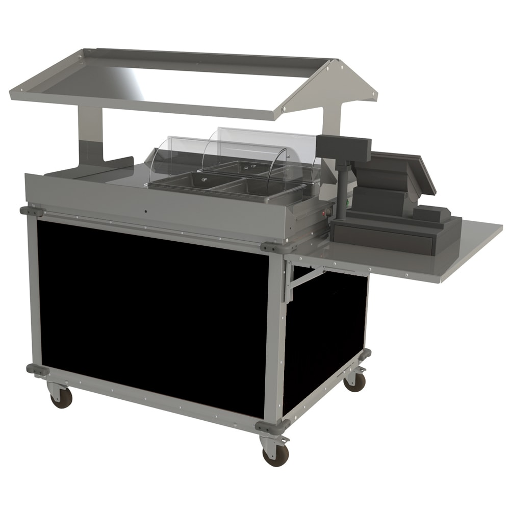 "Cadco CBC-GG-2-L6 63.25"" Mobile Merchandising Cart w/ (2) Wells - Black, 120v"