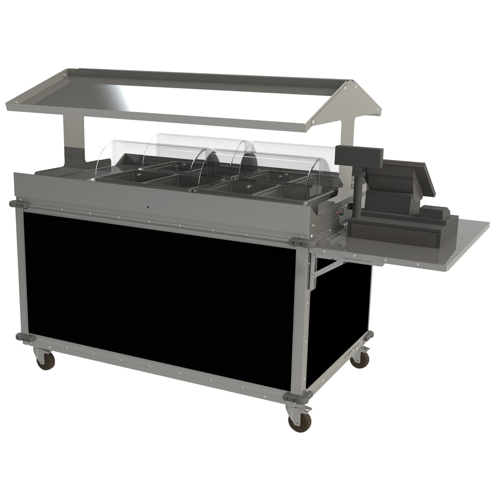 "Cadco CBC-GG-4-L6 85.25"" Mobile Merchandising Cart w/ (2) Wells - Black, 120v"