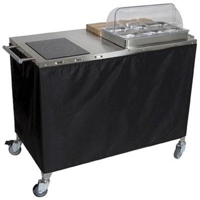 Cadco CBC-PHR-2-L6 Large Mobile Sampling Demo Cart - Double Buffet Server, 2-Half Size Pans