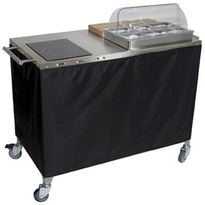 Cadco CBC-PHR-6-L6 Large Mobile Sampling Demo Cart - Double Buffet Server, 6-Sixth Size Pans