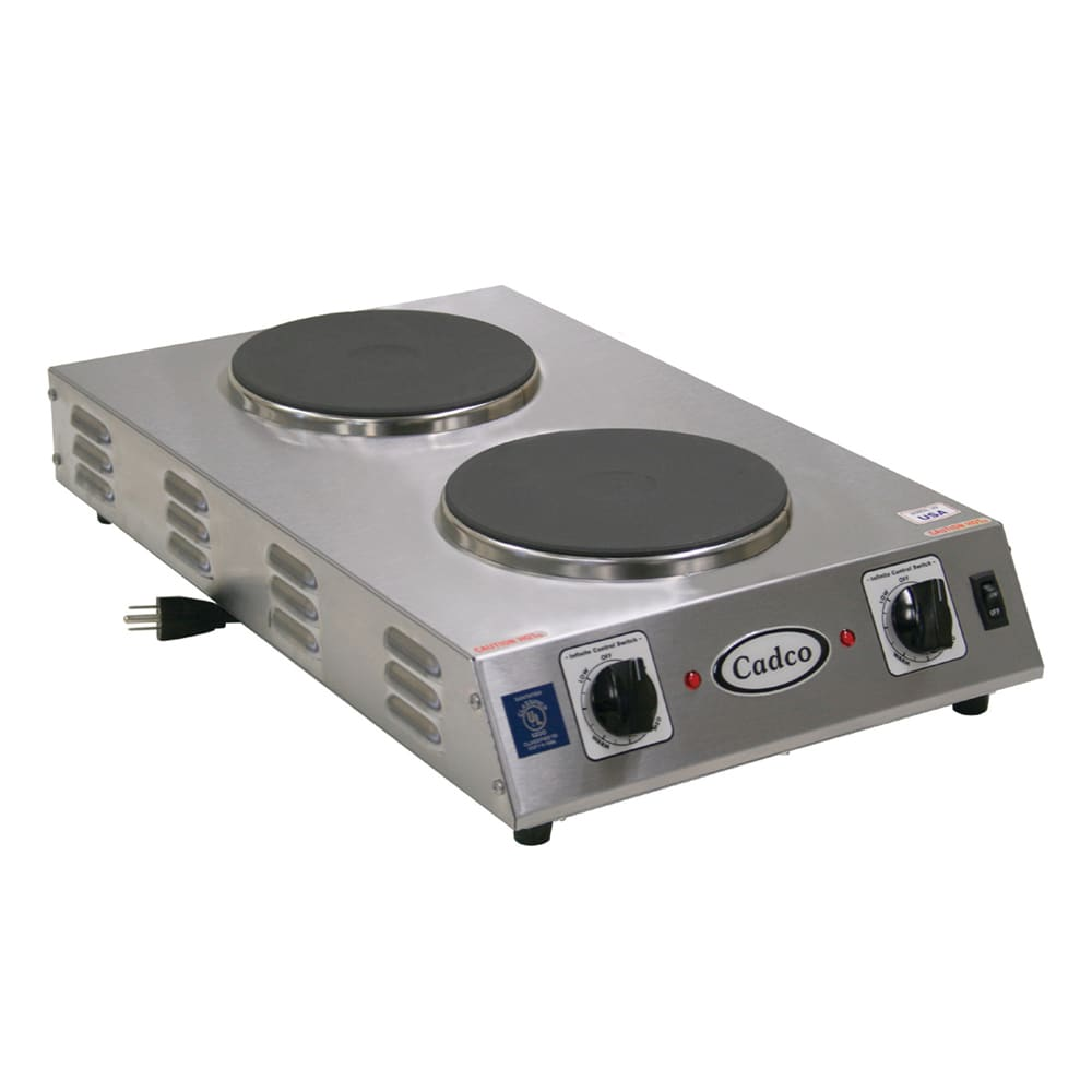 "Cadco CDR-2CFB 13.5"" Electric Hotplate w/ (2) Burners & Infinite Controls, 120v"