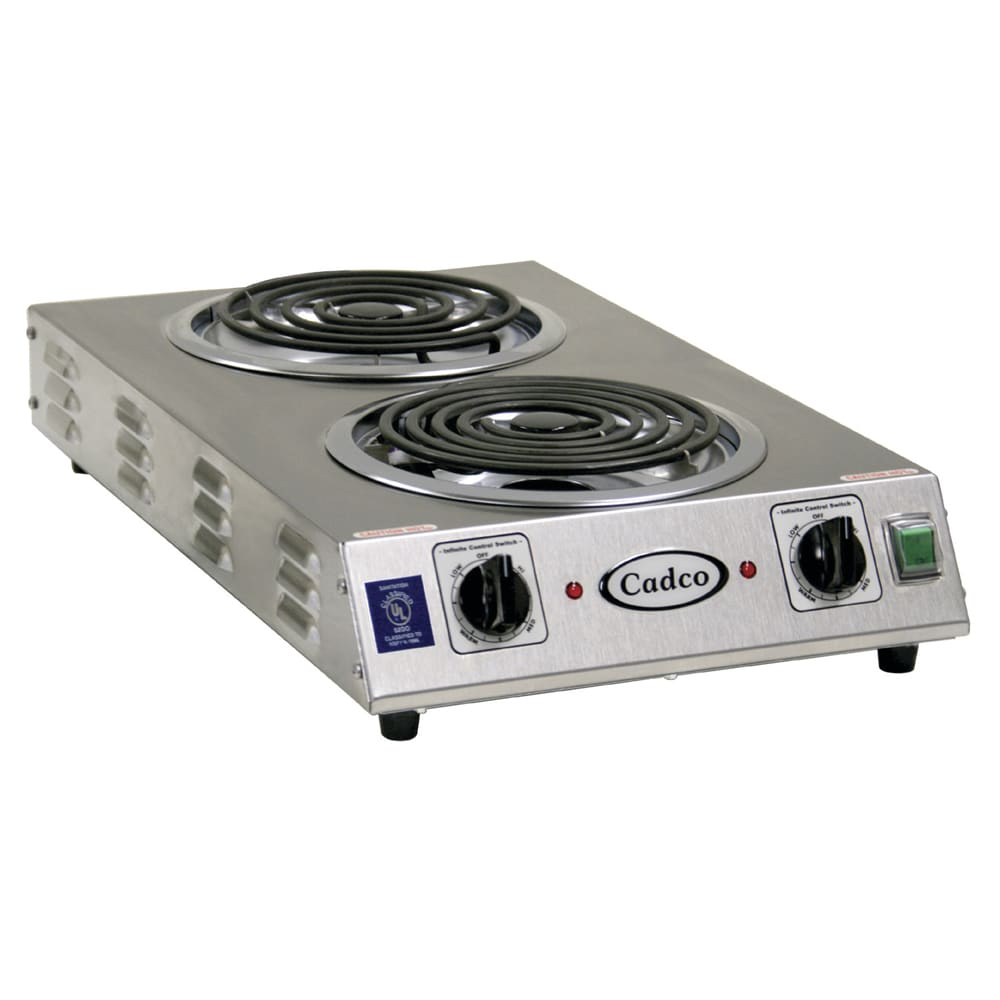 "Cadco CDR-2TFB 13.5"" Electric Hotplate w/ (2) Burners & Infinite Controls, 220v/1ph"